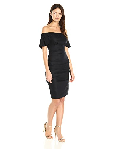 Nicole Miller Women's Stretch Linen Off Shoulder Tuck Dress, Black/Black, 12