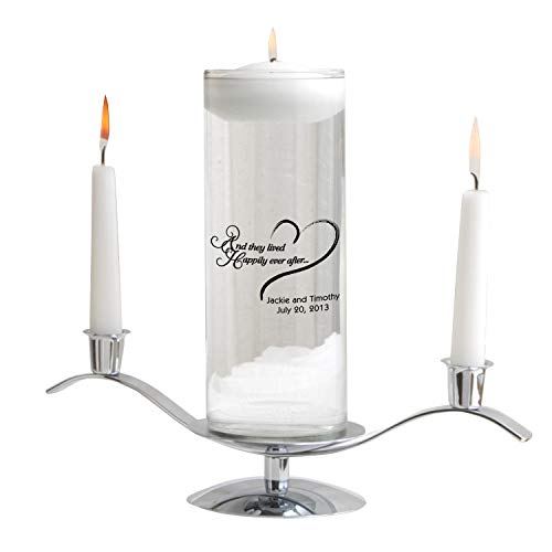 Personalized Floating Wedding Unity Candle - Personalized Wedding Candle - Happily Ever ()