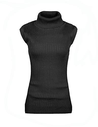 - v28 Women Sleeveless High Neck Turtleneck Stretchable Knit Sweater Top-M,Black