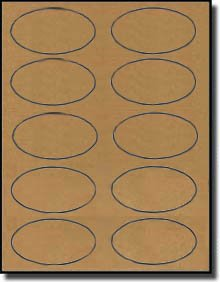 200 Label Outfitters Oval Labels, 3-1/4 x 2 inches, 10 per Sheet Brown Kraft, Laser and Inkjet, 20 Sheets