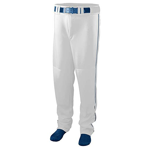 Augusta Sportswear Men's Augusta Series Baseball/Softball Pant with Piping, White/Navy, Large