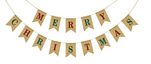 Merry Christmas Colorful Burlap Banner - Ready to Hang Holiday Decor - Festive Christmas Seasonal Winter Decoration - Xmas Party Photo Prop Decorations - Rustic Bunting Garland by Jolly Jon ®