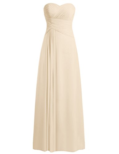 JAEDEN Bridesmaid Dress Prom Dresses Long Sweetheart Chiffon Evening Gown Pleat Strapless Champagne XXL ()