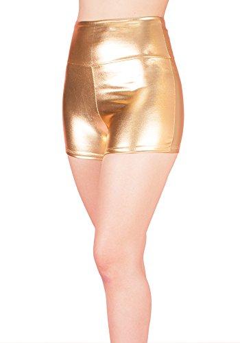 Sidecca Metallic Stretchy Liquid Wet Look High Waist Hot Pants Short Gold Medium