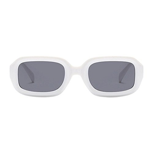 Occhiali Bianco Cornice E Moda Stile Uv400 Sole Per nbsp;uomo Vintage grigio Da Hzjundasi Rettangolare Lenti Donne elegante Pn80wOk