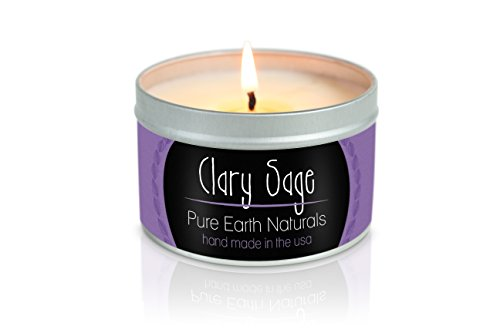 8 Ounce Clary Sage - Pure Earth Naturals Soy Wax Aromatherapy Scented Candle - Made with 100% Pure Essential Oil and Soy Wax- Made in USA - 8oz (Clary Sage)