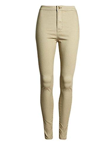 Pants Tights Baymate High Jeans Bronzer Femmes Elastic Waist Denim TCwHqZ