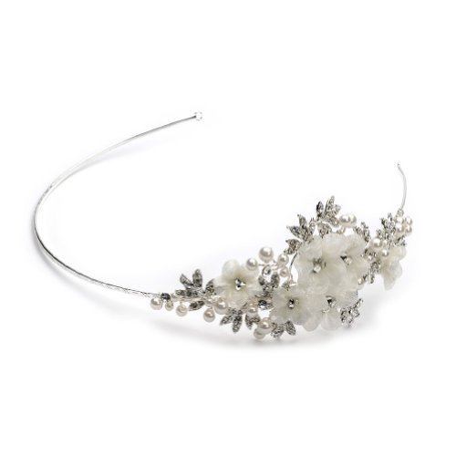 USABride Simulated Pearl & Flower Side Headband, Bridal Hair Accessory 3166