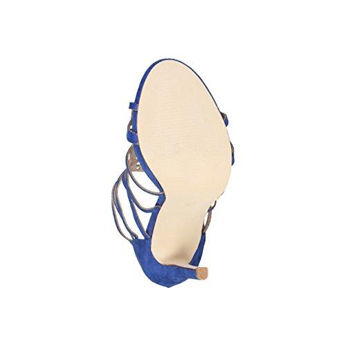V 1969 - ZOELIE_BLU Tacco Sandali Da Donna Con Zip Posteriore Tacco 11.5 cm, Piattaforma 1.5 cm
