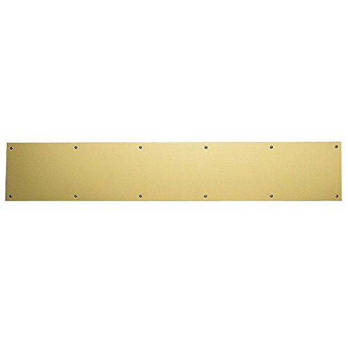 Baldwin 2000.0634 6 Inch x 34 Inch Solid Brass Kick Plate, Lifetime Polished Brass