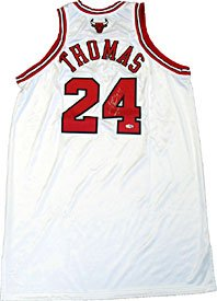 1e6853b01ca Tyrus Thomas Autographed   Signed White Game Used Chicago Bulls Basketball  Jersey