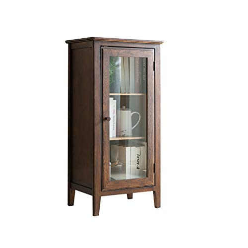 - Lishirao Solid Wood with Glass Side Cabinet TV Cabinet Storage Cabinet Showcase Sideboard Oak