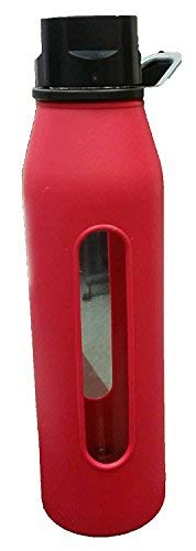 Takeya Classic Glass Water Bottle with Silicone Sleeve, Black, 22-Ounce (Red)