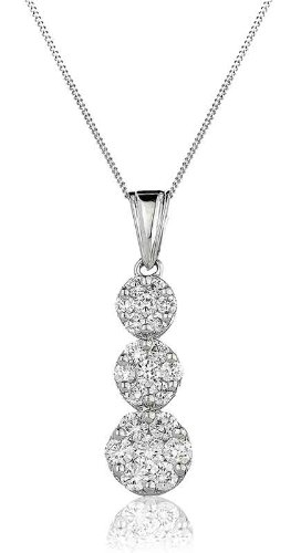 1CT Certified G/VS2 Round Brilliant Cut Cluster Three Drop Diamond Pendant in 18K White Gold