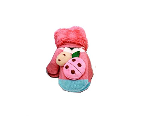 Elandy 1 Pair Kids Unisex Baby Winter Thicken Animal Cartoon Knit Neck Hanging Gloves with String-Kids Windproof Codproof Hands Warmer Fleece Mittens(Color Random)(2-4 years old)