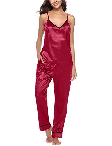 YQ.Cool Go AIRPJ PJ Set Satin Pajamas Set Women Sleepwear Cami Sexy Cute Lingerie Wine Red