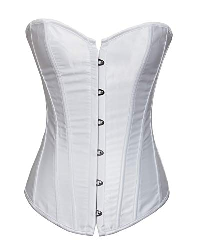 (Corsets Bustiers Overbust Tops Lace Up Sexy Victorian Corselet Brocade Vintage Style Bridal Corset Plus Size White)