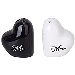TOOGOO(R) Wedding Heart Ceramic Mr. and Mrs. Salt Pepper Shakers Canister Set Wedding Party Favors