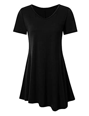 Women's Short Sleeve Summer Tunic Dress Flare Shirt Dress