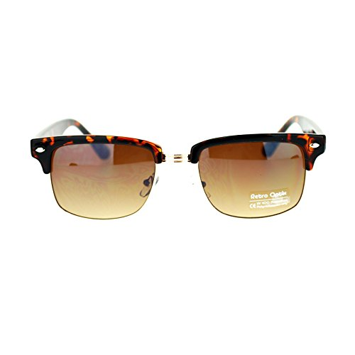 Mens Narrow Rectangular Half Rim horned Clubmaster Sunglasses Tortoise - Clubmaster Shell Sunglasses Tortoise