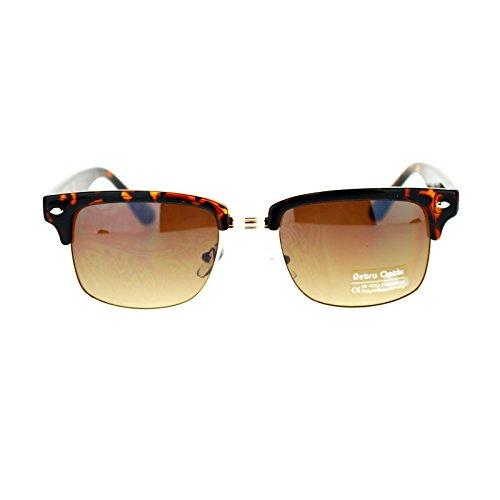 Mens Narrow Rectangular Half Rim horned Clubmaster Sunglasses Tortoise - Glasses Half Tortoise Shell Rim