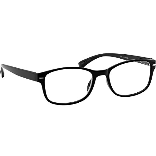 Reading Glasses - Black Single _ Always Have a Timeless Look, Crystal Clear Vision, Comfort Fit With Sure-Flex Spring Hinge Arms & Dura-Tight Screws _ 100% Guarantee - Cheater Mens Glasses
