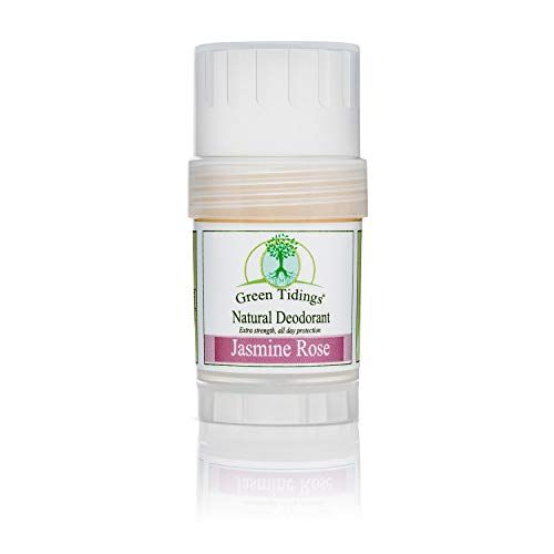 Green Tidings Natural Deodorant - Jasmine Rose 1 oz. - Extra Strength, All Day Protection - Vegan - Cruelty-Free - Aluminum Free - Paraben Free - Non-Toxic - Solid Lotion Bar Tube (Best Selling Deodorant Amazon)