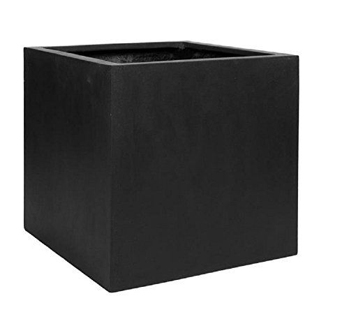 Black Square Large Planter Box - Indoor Outdoor Pot - Elegant Cube Shaped - 24