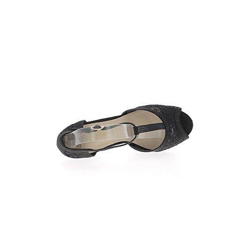 """Cordón de 2,5 cm de la plataforma """"11,5 cm aguja zapatos mujer tacón rhinestone negro"""""""