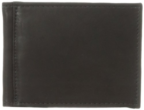 Top Leather Grain Piel - Piel Leather Bi-Fold Money Clip Wallet, Black, One Size
