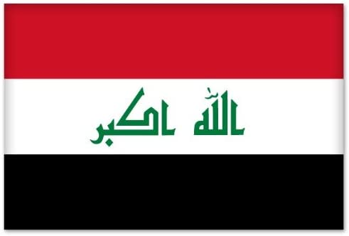 4 X 3 INCH IRAQ NEW COUNTRY FLAG  METALLIC BUMPER STICKER DECAL .