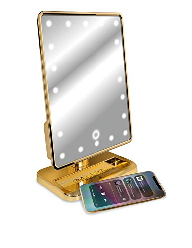 Melody Mirror - Lighted Vanity Mirror with Bluetooth Speaker - Eletro Plated Gold ()