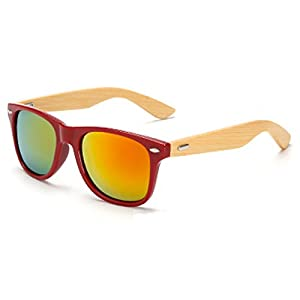 Wooden Bamboo Arms Sunglasses/ Classic Aviator Retro Wood Sunglasses (Red)