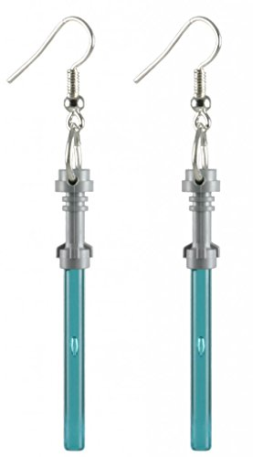 [LEGO® Lightsaber Earrings Blue Jewelry] (Ewok Star Wars Costume)