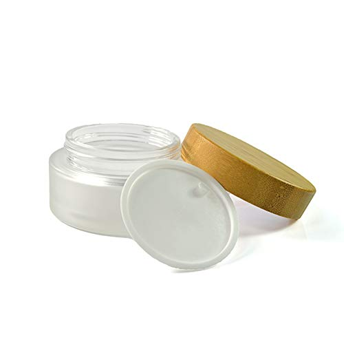 ConStore 1oz Clear Frosted Glass Cream Jar With Natural Bamboo Lid Cosmetic Lotion Packaging Containers For Face Cream Balms Makeup Emulsion Pots With White PP Liner-1 Pack (30g)
