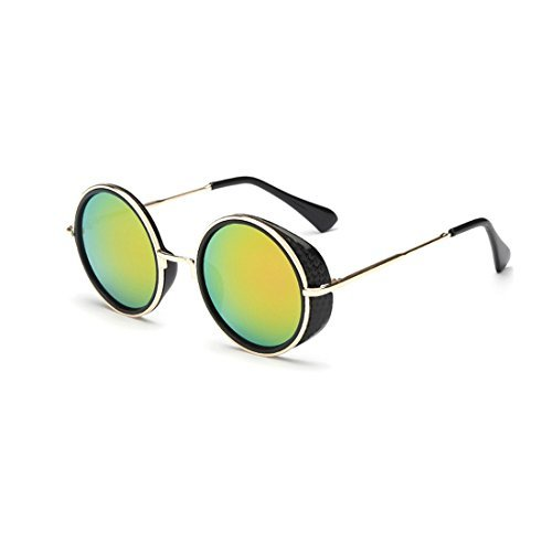 Unisex Round Goggles Sunglasses ,Plastic Metal Frame Rimmed UV400 Lens - The Group Outlet Hut