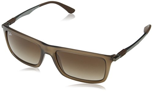 Ray-Ban Men's Injected Man Rectangular Sunglasses, Matte Transparent Brown, 59 - Ban Hinges Ray