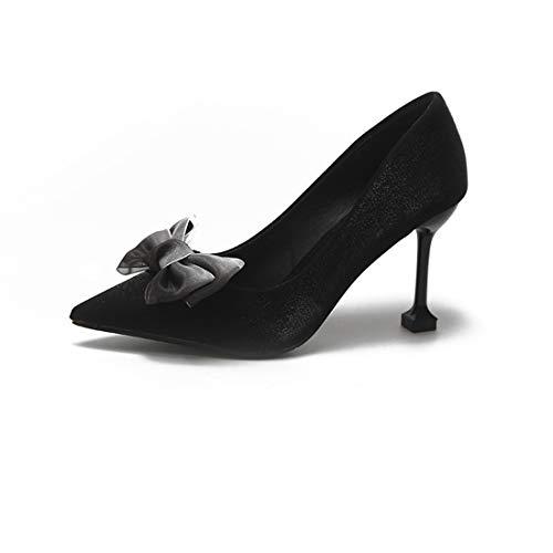 Aire Black Gatito Estrecha Heels Corte de Punta Zapatos High ZXMXY de Bow de Punta Moda de Sandalias 8cm de Mujer de al Libre otoño Zapatos xOaW00wgq1