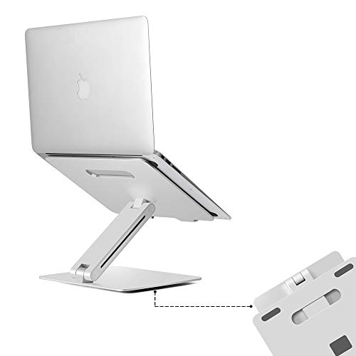 Height Adjustable Aluminum Laptop Stand   Ergonomic Design & Lightweight Stand Compatible with 15.6″ MacBook Pro/Air, Dell, Hp, Samsung, Apple Laptop   Stylish Foldable Laptop Holder for Office Desk