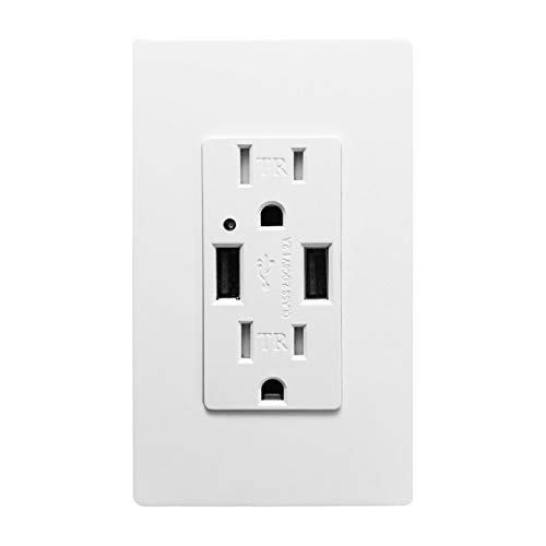 (Outlet with USB High Speed Charger 4.2A Charging Capability, Child Proof Safety Duplex Receptacle 15 Amp, Tamper Resistant Wall socket plate Included UL Listed MICMI U24 (Outlet with USB))