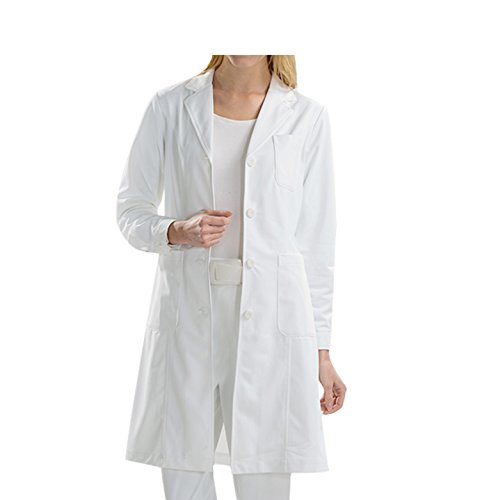 BSTT Women Lab Coat White Medical Uniforms Scrubs-2018 New Improvement Buttoned Sleeves Thin M ()