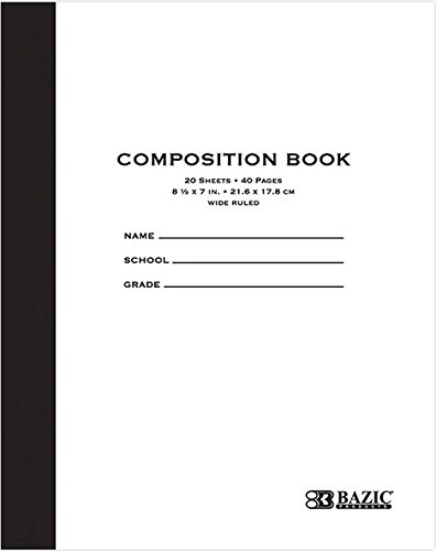 BAZIC 20 ct. 8.5'' x 7'' Manila Cover Composition Book, Case of 24 (5096-24) BAZIC Manila Cover Composition Book. 20 Sheet Notebook for Grades K-5 ( 8.5'' x 7''. Case of 24) by BAZIC