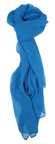Blue Silk Long Scarf - 5