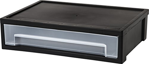 IRIS Desktop Letter Size Medium Stacking Drawer, Black, (Black Plastic Desktop)