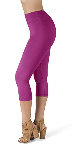 (SATINA High Waisted Super Soft Capri Leggings - 20 Colors - Reg & Plus Size (One Size, Fuschia))
