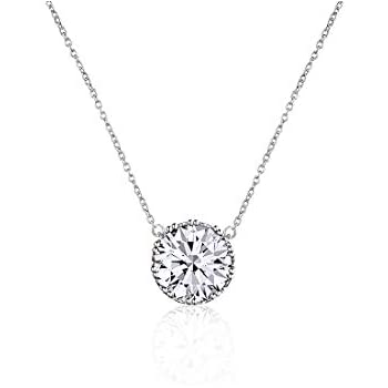 Beyond Love 2.25 Ct Round Cut 5A Cubic Zirconia CZ Birthstone Solitaire Pendant Necklace for Women Crown Set (15.5
