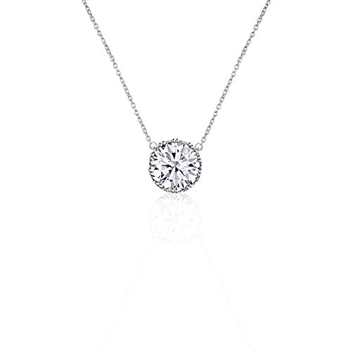 Beyond Love 2.25 Ct Round Cut 5A Cubic Zirconia CZ Birthstone Solitaire Pendant Necklace for Women Crown Set (16