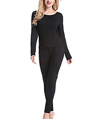 Yulee Women's 2 Pc Thin Long John Thermal Underwear Set Top & Bottom S-XXL