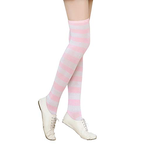 Women Stripes Colored socks,Thigh High Over Knee Stocking for Christmas (Pink, Free Size)