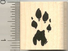 Cheetah Paw Print Rubber Stamp